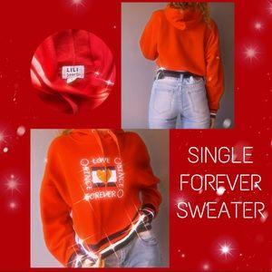 ✰ Red Love Single Forever Crop Hoodie